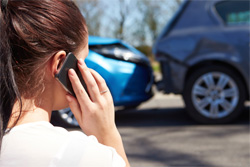 Woman phone in of car accident